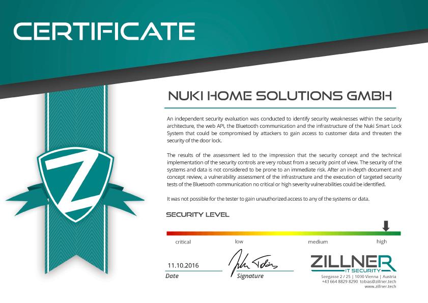 Security assessment of Nuki electronic door lock
