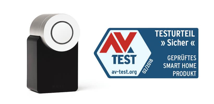 Nuki zertifiziert von AV Test Sicherheitszertifikat