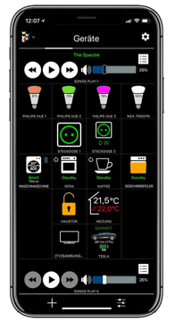 the iHaus app offers you these options and more to control your technologies