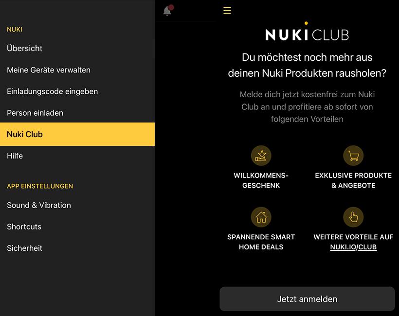 Nuki Club App Screenhot