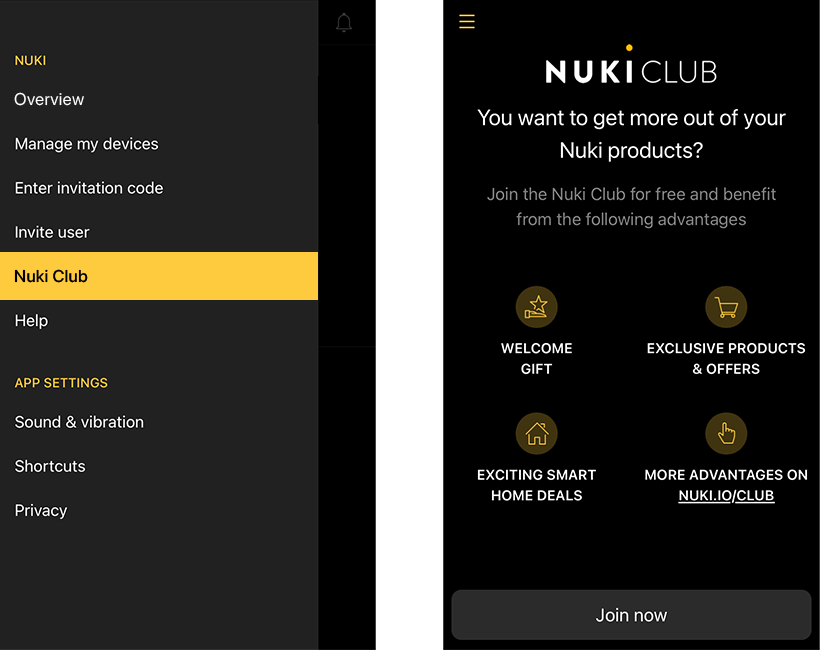 Nuki Club App Screenhot