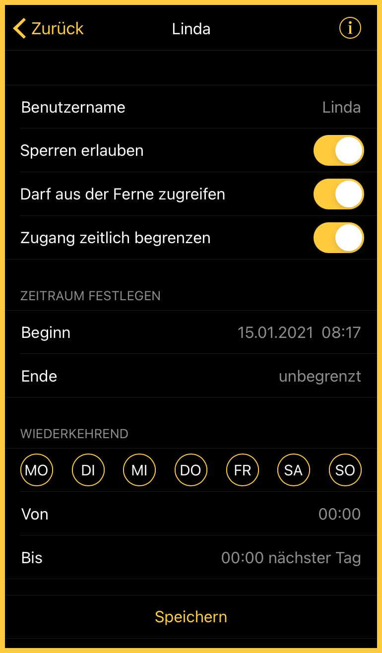 Nuki App Benutzer Einstellungen